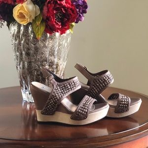 UGG Leather Wedge Sandals